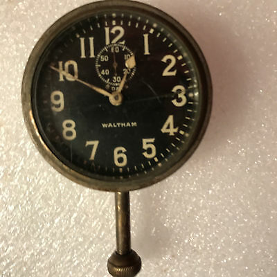 8 day Waltham Automobile Clock Working Cracked Crystal