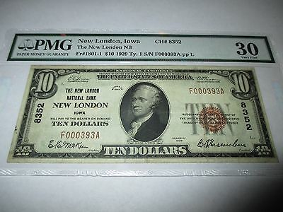 $10 1929 New London Iowa IA National Currency Bank Note Bill! Ch. #8352 VF PMG!