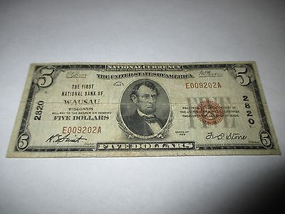 $5 1929 Wausau Wisconsin WI National Currency Bank Note Bill! Ch. #2820 Fine!