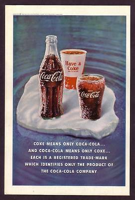 1960's Vintage Coca-Cola Coke Bottle & Glass Print Ad