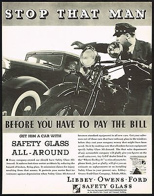 1934 BIG Original Vintage Libbey Glass Police Man Motorcycle Car Photo Print Ad