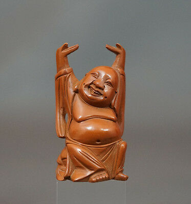 Antique Carved Cataline Amber Bakelite Happy Buddha Hands Up Statue Figurine 3''