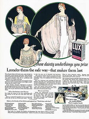 1920's BIG Old Vintage Lux Laundry Powder Flakes Flapper Lady Art Deco Print Ad