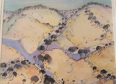 M Hall 1992 watercolour painting, dry bush landscape, Australian artist