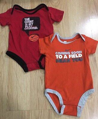 Nike Bodysuit Lot Of 2 Baby Toddler Size 6/9 Months Orange And Red
