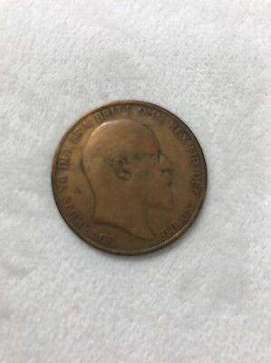 1902 Bronze One Pence UK One Penny Britain Coin  #32