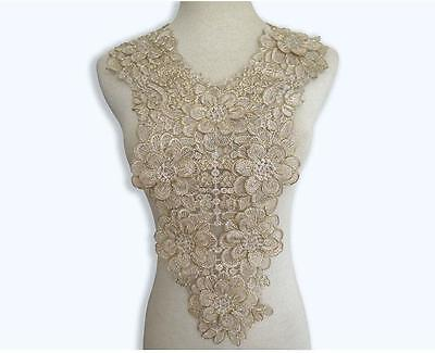 55*30cm Luxury Gold Embroidery  Bridal Lace Applique Corded Bodice Motif 1 Piece