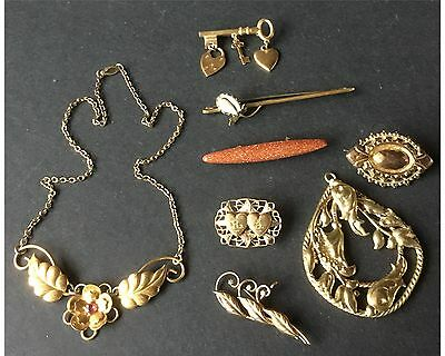 Victorian Edwardian & Art Deco Gold Filled Lot of Jewelry Brooches & Necklaces