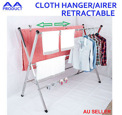 Steel Portable Retractable Folding Clothes Towel Hanger Airer Stand Dry Rack