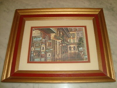 "Framed Art Lithograph Print Signed Marcella Packard ""Pirate's Alley"" New Orleans"