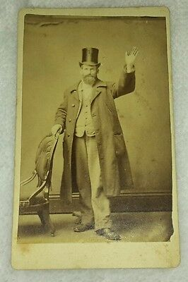 Rare Vintage CDV Photo of Victorian Man in Top Hat WAVING Hand in Air Long Coat