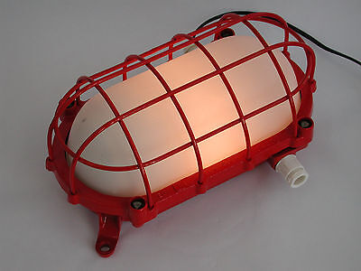 "Fabriklampe DDR Lampe, Bunkerlampe, Industrielampe EOW ""Red Edition"" Loft"