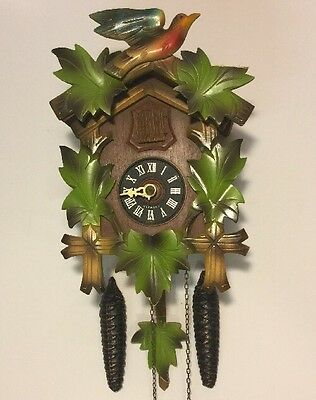 "Colorful VINTAGE West Germany Cuckoo Clock for Parts Or Repair 9 1/2""x7"""