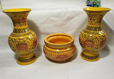 Chinese Rose Famille  porcelain vases 3 pcs (stamped)