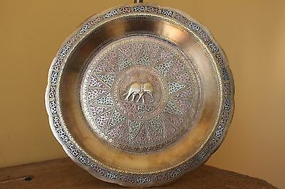 Antique Persian Islamic  Brass & silver tray with stand. Tray table.