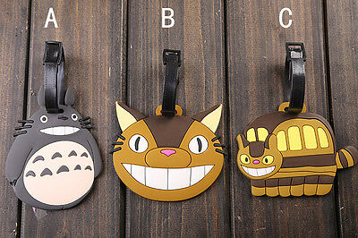 Design B - TOTORO CAT BUS Rubber Luggage Handbag School Bag Name Card Holder Tag
