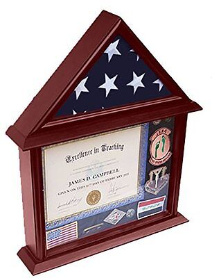 DECOMIL - 3x5 Flag Display Case with Certificate and Document Holder Mngfnsh
