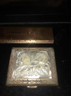 Vintage Gold Powder Compact Etched Mother Of Pearl Flower