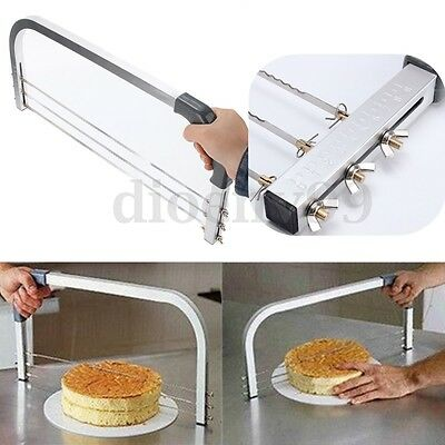 AU Adjustable Large Cake Interlayer 3 Blades Cutter Standard Leveller Slicer Hot