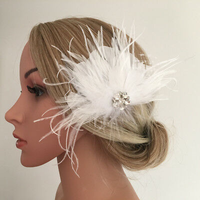 Wedding Party Women Lady Feather Hair Clip Brooch Fascinator Headpieces
