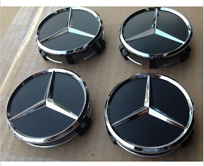 75mm Center Hubcap Hub Cap Caps Wheel Cover for Mercedes Benz 4x Black