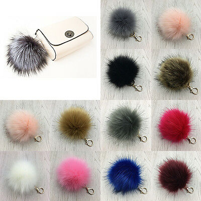 Fashion 14CM Furry Faux Fox Fur Pompom Ball Handbag Pendant Key Chain Keyring