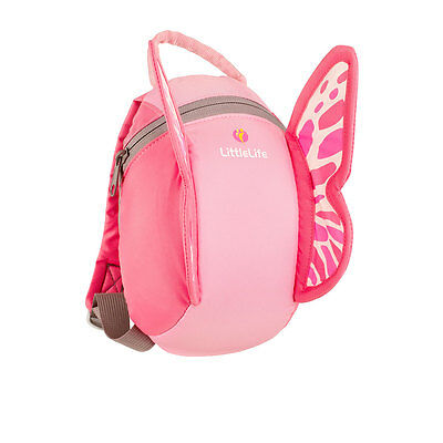Littlelife Pink Butterfly Toddler Backpack With Reins, Top Grab Handle