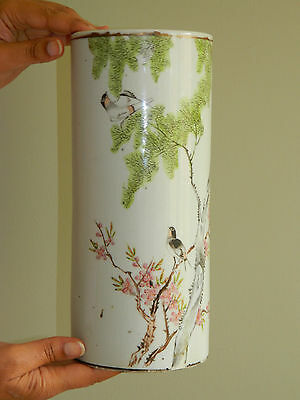 Antique 19th c Qianlong Chinese porcelain cylinder vase with hand painted birds