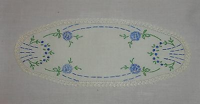 Vintage/antique Embroidered Linen Doilies/doiley Crochet Edge - Blue Flowers