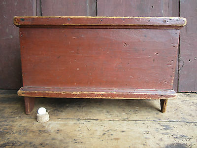 Antique New England Small Pine Wood Old Red Painted Blanket Chest Keepsake Box