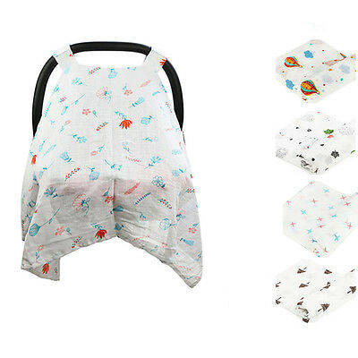 Baby Stroller Pram Car Seat Cover Breathable Muslin Cotton Sun Shade Canopy New