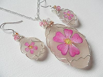 Pink Dog Rose hand painted to order sea glass necklace and dangle earring set