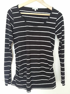 Black striped maternity top size 8 long-sleeved