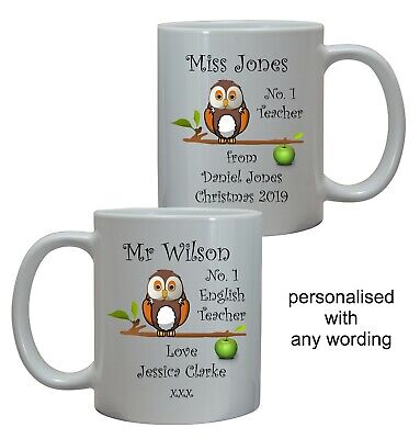 Personalised Owl Number 1 Teacher, Tutor Mug/coaster End Of Term School Gift