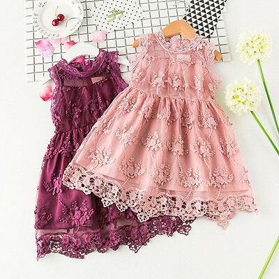 Flower Girl Summer Princess Dress Kid Baby Wedding Pageant Party Lace Dresses