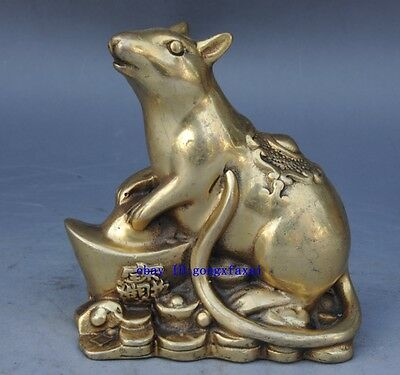 Chinese old brass Wealth Money zodiac Mouse Mice Animal statue /daqing mark