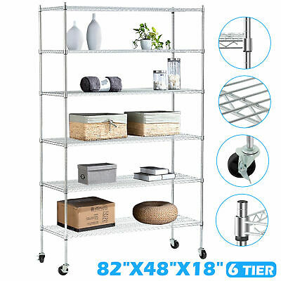 "6 Tier Adjustable 82""x48""x18"" Heavy Duty Wire Shelving Rack Steel Shelf Chrome"