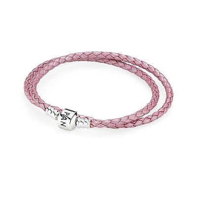 Pink Double Leather Pandora Bracelet Brand New Sterling Silver Clasp