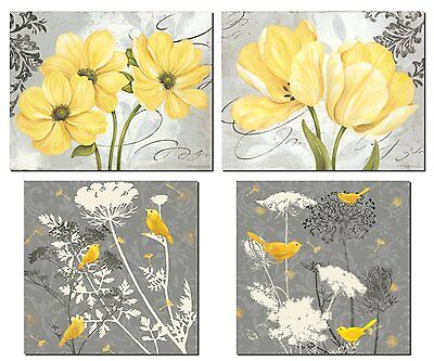 Beautiful Grey & Yellow Poster Set; Birds and Flowers; Two 12x12in and Two 14x11
