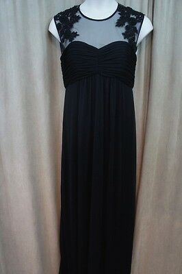 Patra Dress Sz 14 Black Beaded Lace Mesh Illusion Long Formal Evening Gown