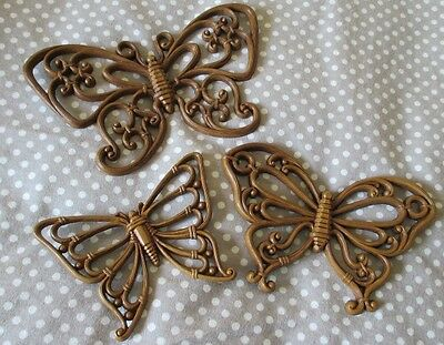 HOMCO 7537 Brown Butterfly Wall Plaques Butterflies Vintage Lot USA Set of 3 GUC
