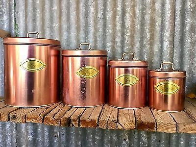VINTAGE Set Of 4 WILLOW AUSTRALIA Copper & Brass Coloured CANISTER SET Retro