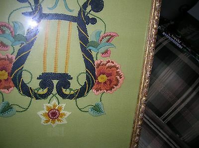 Vintage Hand Stitched Crewel Embroidery Music Lyre Harp Flowers Antique Frame