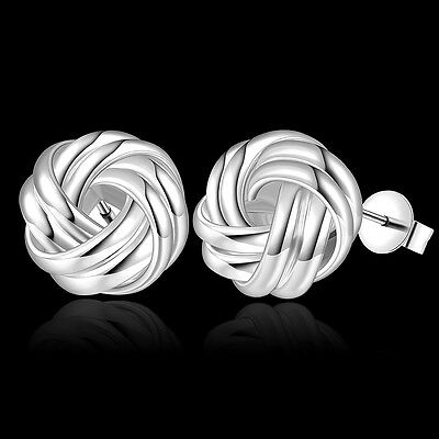 Stunning New Silver Plated Twisted Knot Stud Earrings