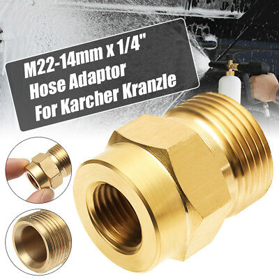 Pressure Washer Lance Adapter 1/4'' Female x M22 Male 14mm Brass For Karcher New