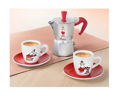 Gift Set Red omino Bialetti Moka Express 2 Cups stove top coffee espresso maker