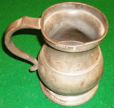 Antique Pewter James Yates QUART Tankard - VR