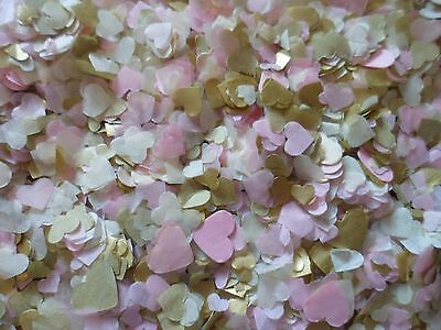 5000 Pink, Gold and Cream Tissue Hearts/Wedding Confetti/Party,Decoration