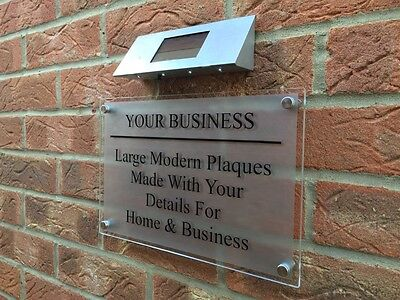 Solar Powered Led Business / Commercial A4 Sign Plaque, Glass Acrylic / Silver