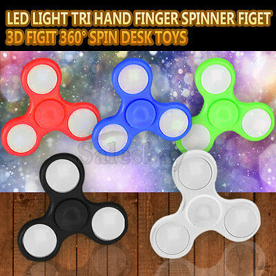 LED Light Tri Hand Finger Spinner Figet 3D Figit 360° Spin Fidget Desk Toys